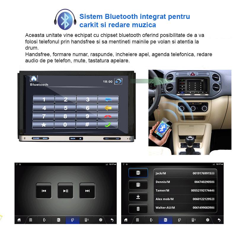 navigatie auto cu android si bluetooth cu carkit pentru convorbiri telefonice
