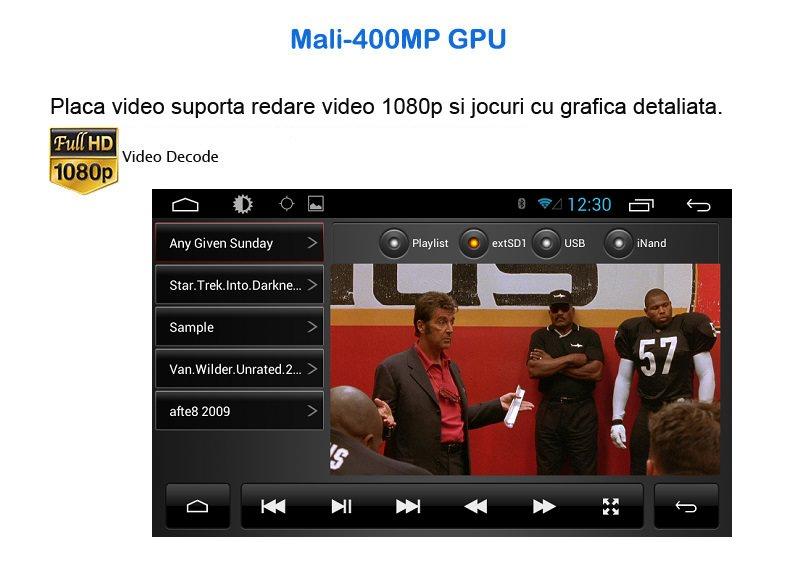 navigatie cu android reda fisiere video full hd cu procesor video mali400
