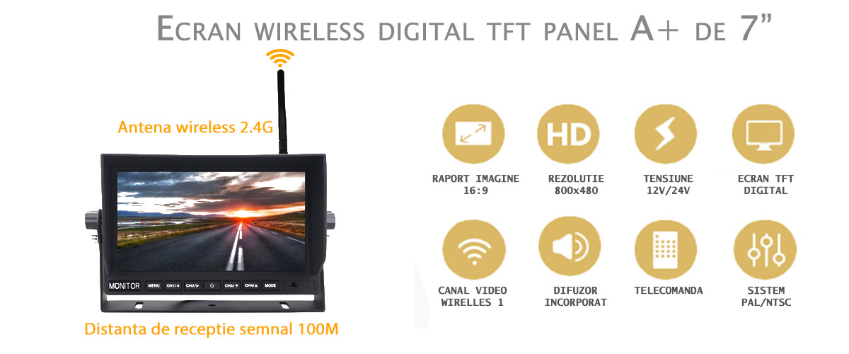 monitor wireless ecran digital tft 7inch dube camioane utilaje