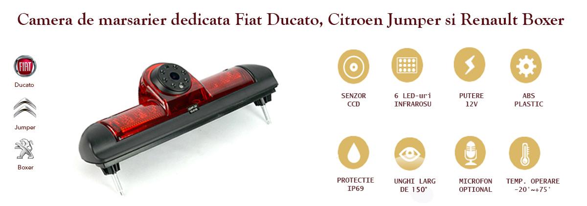 Specificatii camera video marsarier stop frana Fiat Ducato Citroen Jumper Renault Boxer