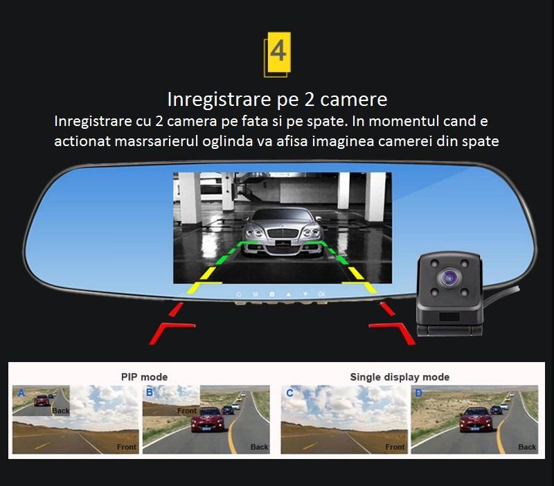 oglinda cu dvr inregistrare trafic si camera pentru mersul cu spatele