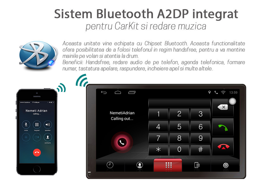 unitate multimedia univarsala cu android bluetooth a2dp usb radio rds gps dsp wifi