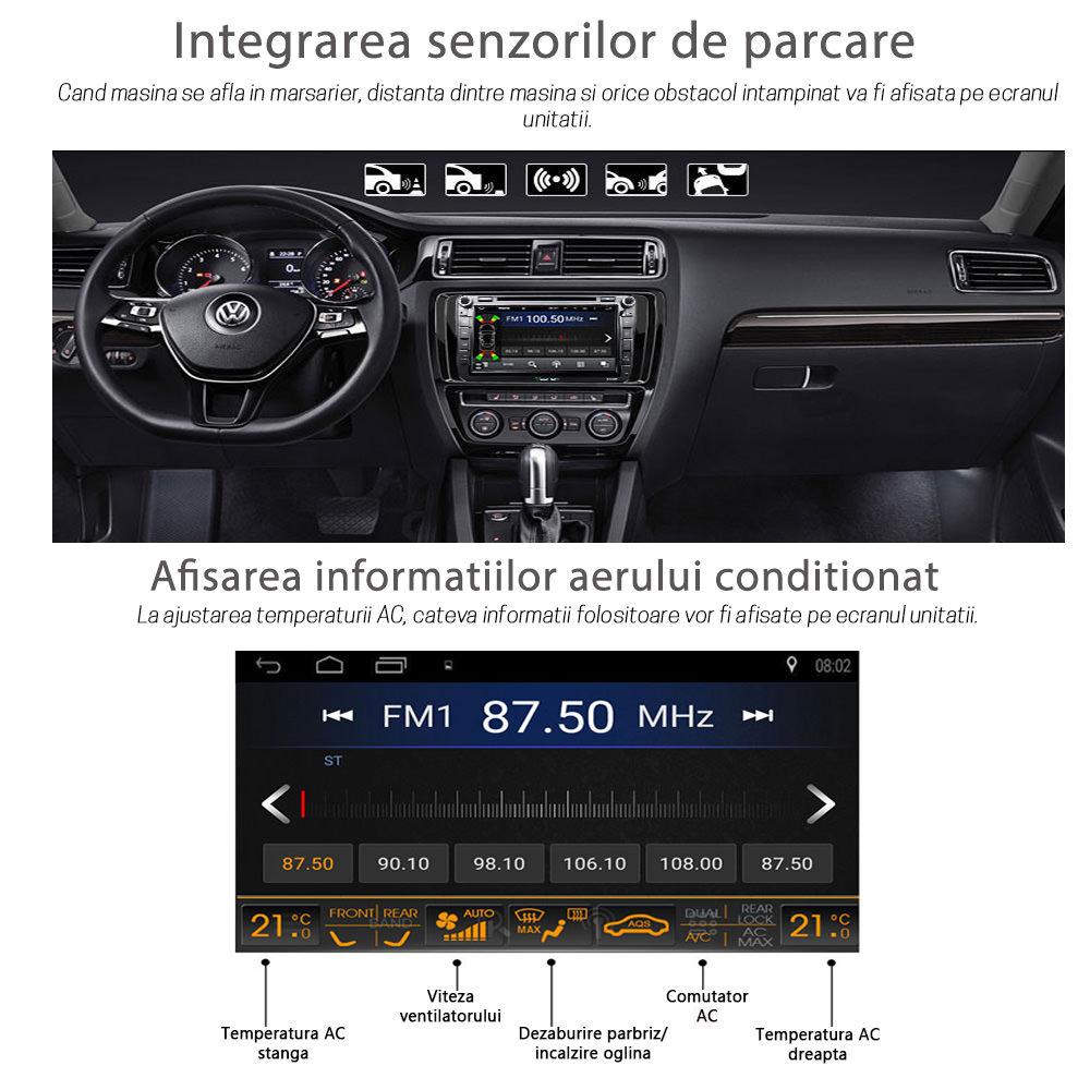 unitate multimedia vw skoda seat ecran 9 inch wifi gps bluetoot a2dp radio rds dsp comenzi volan
