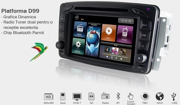 Dvd auto cu navigatie si carkit mercedes mc2000 cu android